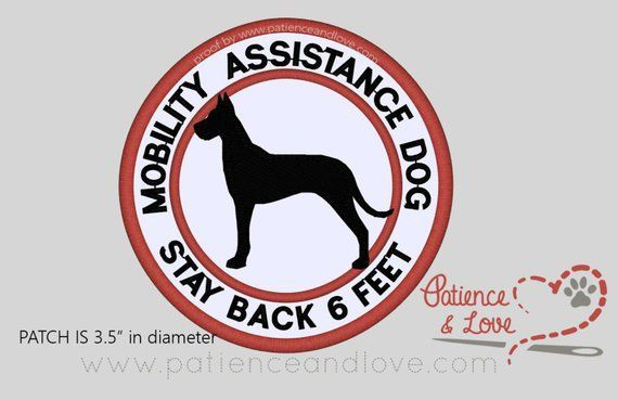 1 Patch Sew On 3 5 Inch Custom Mobility Assistance Dog Stay