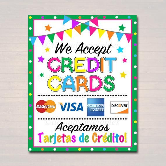image regarding We Accept Credit Card Signs Printable named PRINTABLE Credit score Card Indication, Fundraising Booth, Bake Sale