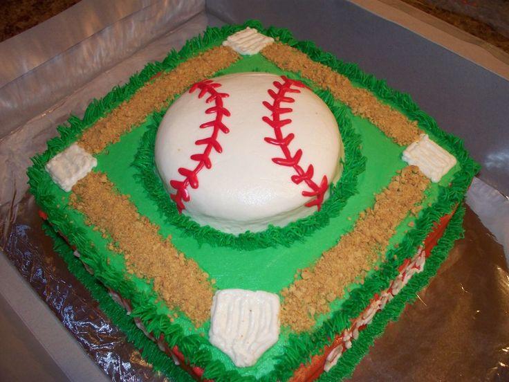 BASEBALL THEME BIRTHDAY CAKE!!!                                                                                                                                                      More