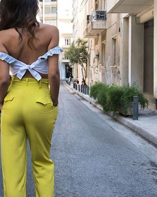 """MIRANDA"" high waisted trousers in lime and ""THE LOVERS"" bustier **SUPER YUMMY PRICES** #karavan #karavanclothing #karavangirl #miranda #trousers #lovers #bustier #mermaidsandrascals #ss16 #summer16 #summer #love #greekdesigners"