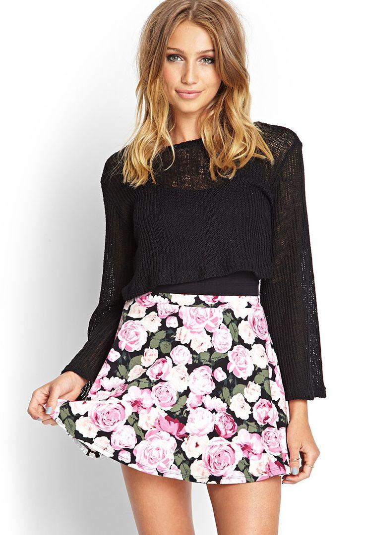 Rose Print Skater Skirt | FOREVER21 #SummerForever