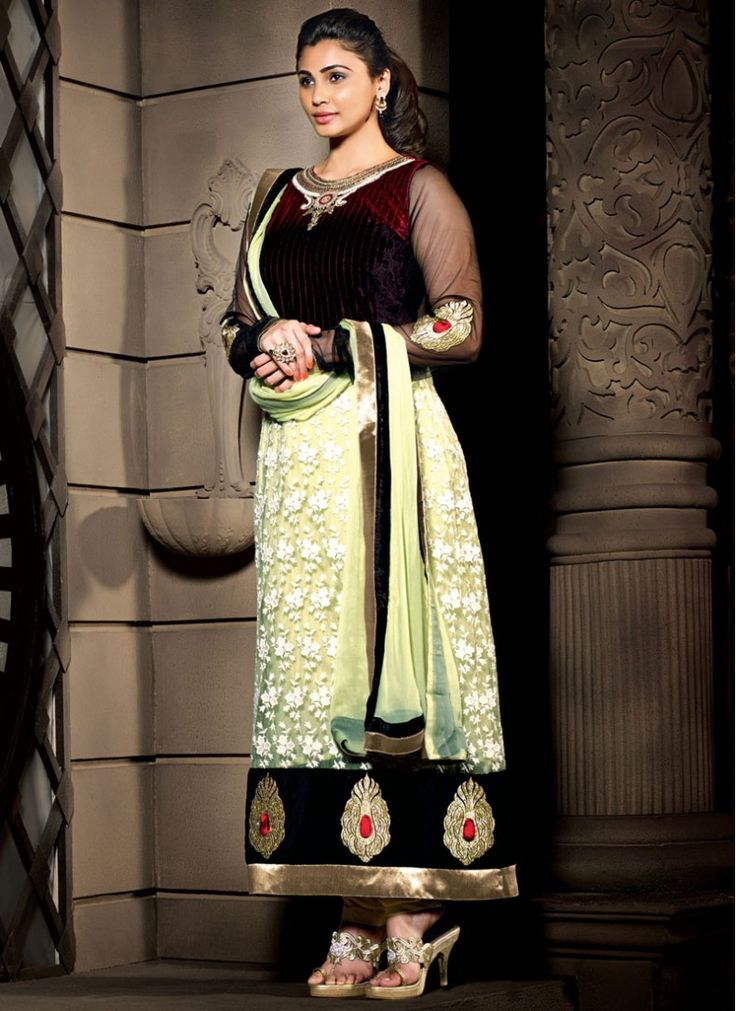 Daisy Shah Brown and Light Green Designer Salwar Kameez