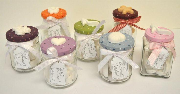 Vasetto con gessi profumati, formato medio - tappo lilla, 9 cuori profumazione lavanda - Pezze e colori - bomboniera