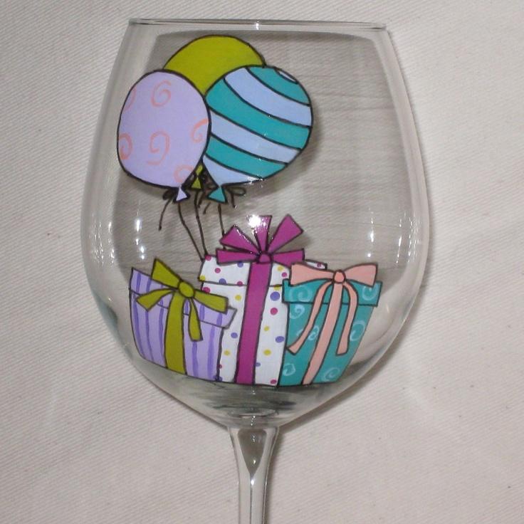 Hand Painted Birthday Wine Glass. $16.00, via Etsy.