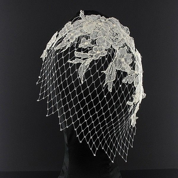 Headpiece - Couture Beaded Ivory Lace Net Fascinator #millinery #judithm #hats