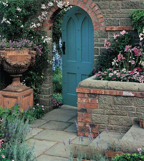 .: Secret Gardens, Blue Garden, Gardens Entrance, Blue Doors, Brick Wall, Gardens Gates, The Secret Garden, Gardens Doors, Wooden Doors