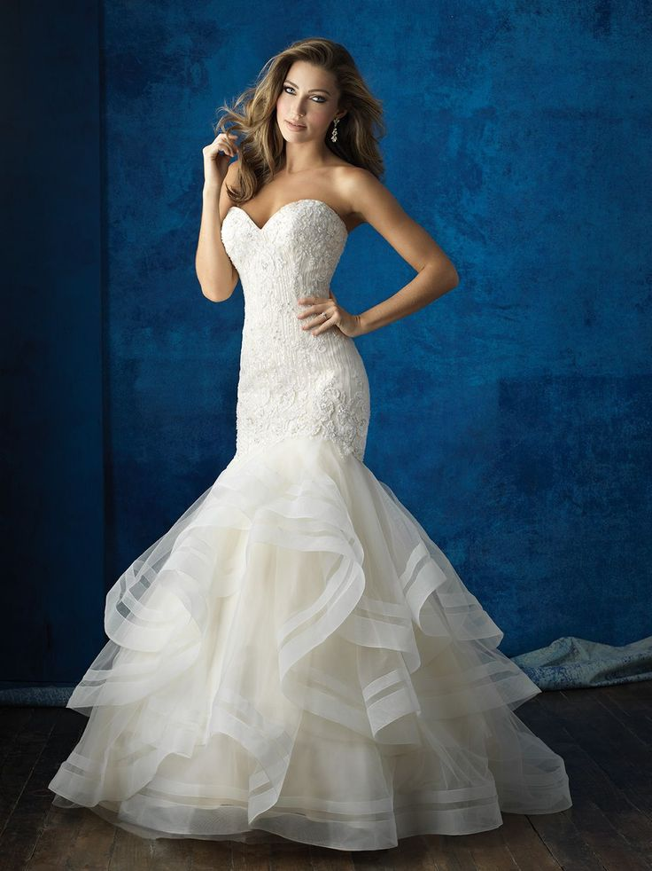 This strapless, ruffled gown is a glamorous choice year-round // Allure Bridals 9364