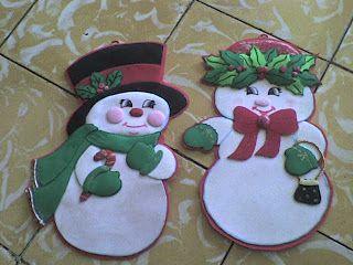 Muñecos de nieve en Paño Lenci