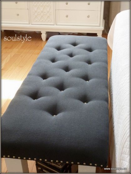 DIY button tufted upholstery  she took an old coffee table , added some foam & fabric & voila. Elegant seat for end of bed