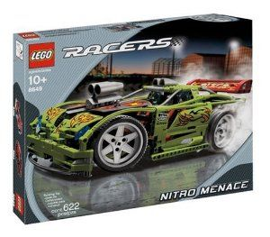 LEGO Racers Nitro Menace by LEGO. $209.99. Crush the competition with a nitro-powered, Lego model racer. Wide racing tires and front-wheel steering. Oversized engine and shining, chromelike details. Measures 14 inches in length. Amazon.com                Crush the competition with the hottest set of wheels in town.  Measuring 14 inches in length, this custom Lego racer offers all the fun of  creating a super-modified car from the ground up. With sleek lines, plenty  of de...