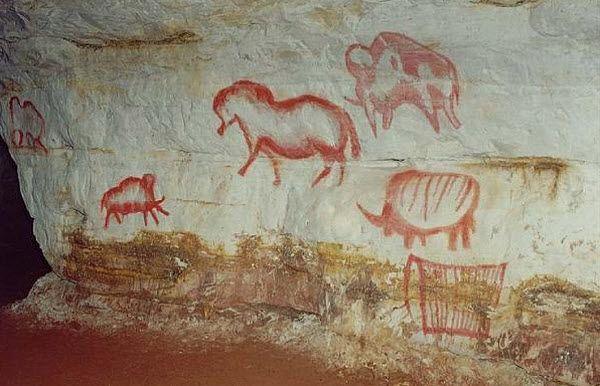 Prehistoric art in Kapova Cave, Belaya River, Russia