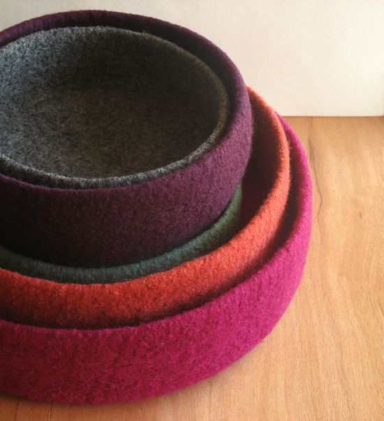 "Making Felt Bowls ...  ""While it is simple for anyone to make a felted bowl, it is challenging to make one well."" quoting Maria Roth, the author of linked article and maker of these bowls"