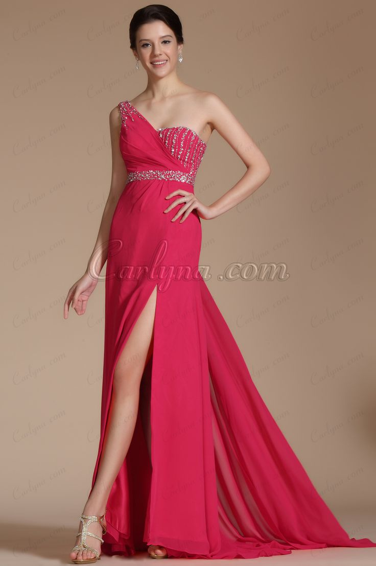 Abendkleid rot one shoulder