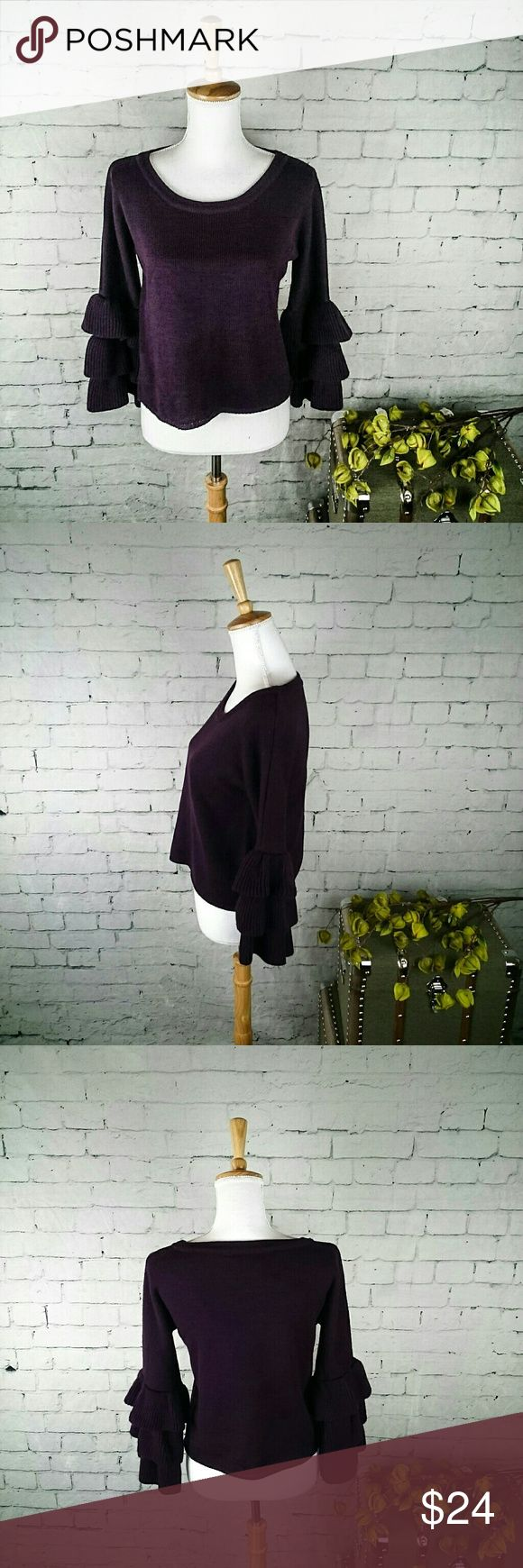 """NWT Moon & Madison sweater w/ ruffled bell sleeves -Brand new Moon and Madison cropped sweater with ruffled bell sleeves  -Pretty plum color  -3/4 sleeves  -Size L  -19.5"""" from armpit to armpit  -20.25"""" from shoulder to hem  #512 All measurements are approximate and are taken when the garment is laying flat.  Thanks for stopping by. Moon and Madison Sweaters Crew & Scoop Necks"""