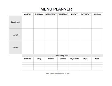 and dinner) on this printable menu planning tool. It includes a blank ...