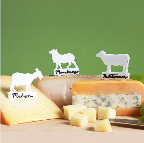 Cheese labels that clearly mark what what animal your cheese is from! I. have. to have these. (Except I need like, 4 or 5 of the little goat ones.)