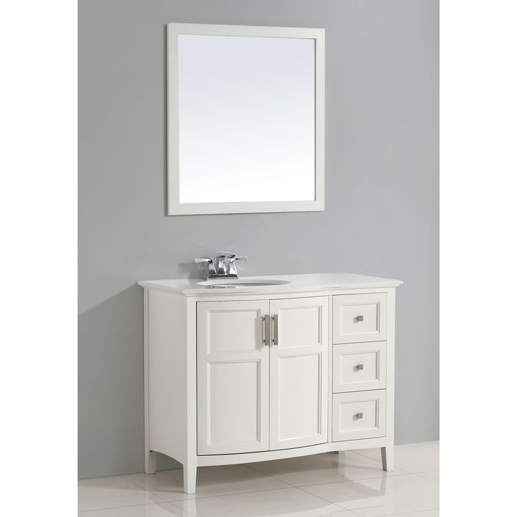 Wyndenhall Salem White 2-door 42-inch Rounded Front Bath Vanity with White Quartz Marble Top (Salem 42 White Rounded Front Bath Vanity), Size Single Vanities