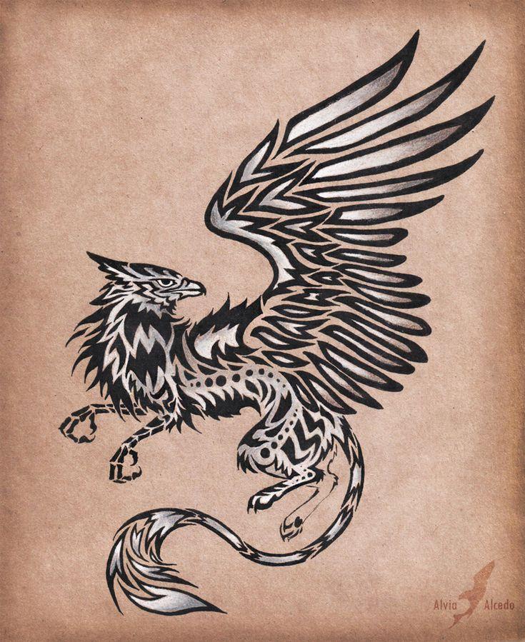 Silver gryphon - tattoo design by AlviaAlcedo.deviantart.com on @deviantART