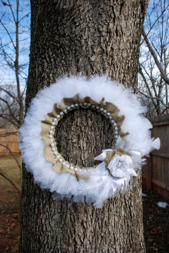 White Tulle and Burlap Wreath, w/ Pearl & Feather Accents, $25