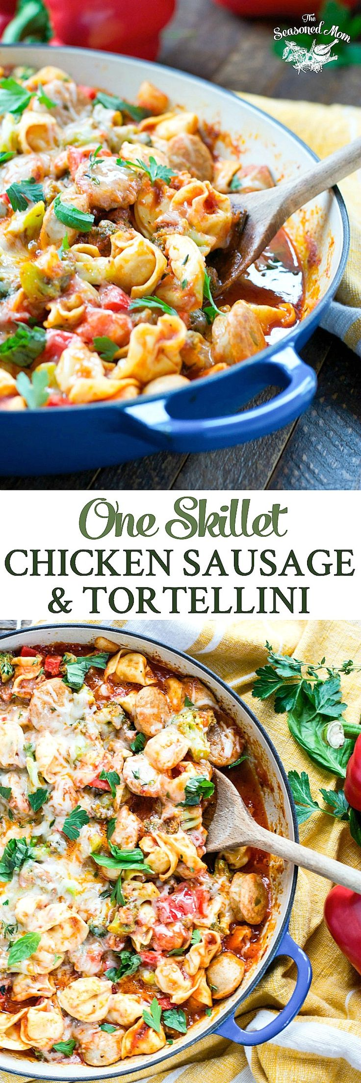 One Skillet Chicken Sausage and Tortellini is ready in less than 30 minutes! Dinner Recipes | Dinner Ideas | Pasta | Pasta Recipes | Tortellini Recipes