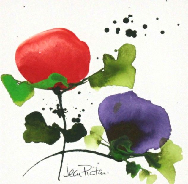 Jean Picton, Poppy Splash I, Original Watercolour | Contemporary Art