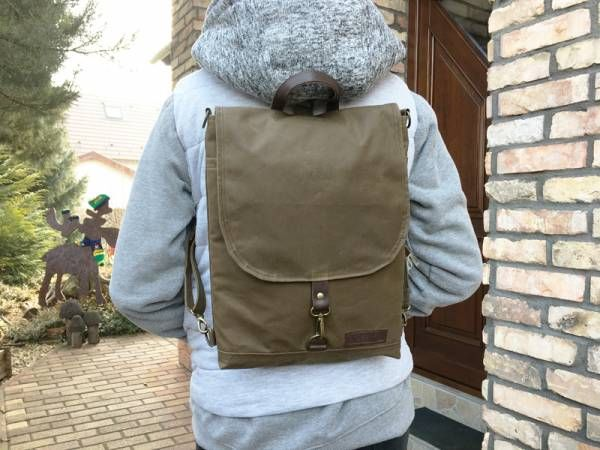 Toffee Brown Waxed Canvas Backpack
