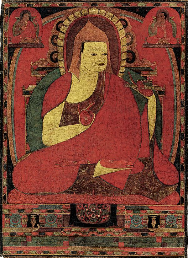 "One of the important teachers from India was the monk Atisha who in 1042 came to Tibet at the invitation of the western Tibetan king Yesh 'Od. This ""tangka"" (painting on cloth) made in the early to mid-twelfth century, several generations after Atisha's death in 1054, is the earliest known portrait of this great master."