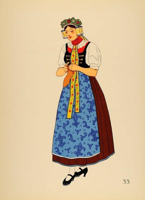 1939 Polish Folk Costume Woman Upper Silesia Lithograph (via periodpaper, ebay)
