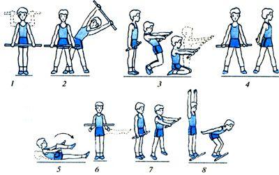 bewegingskaart voor gymles met houten stokjes