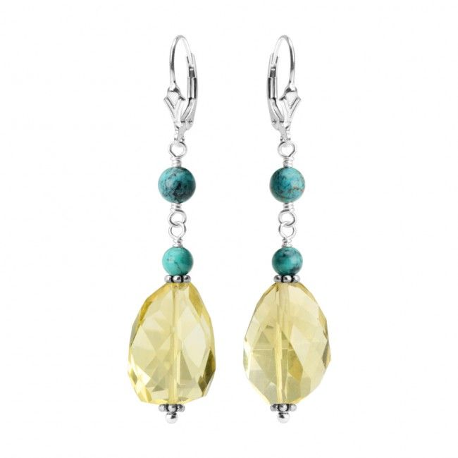 Lemon Quartz and Turquoise Sterling Silver Earrings
