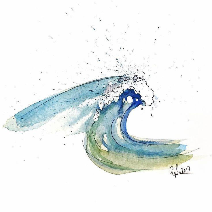 Sacé mi kit de #acuarela ayer, ¡que #diversión! Gestern meine #Aquarellfarben rausgekramt, großer #Spaß!  #Fernweh #cadizfornia #ilovecadizfornia #cadiz #watercolors #blue #green #painting #waves #paper #art #expressyourself #water #ocean #atlantico