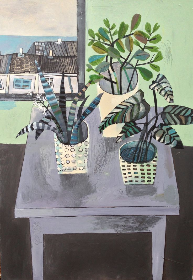 Este MacLeod 'house plants on grey table' acrylic on wood.