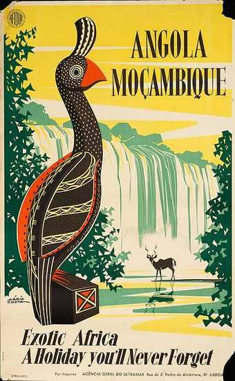 Angola & Mozambique tourism poster from Portugal. Date: 1958  Artist: Mario Costa