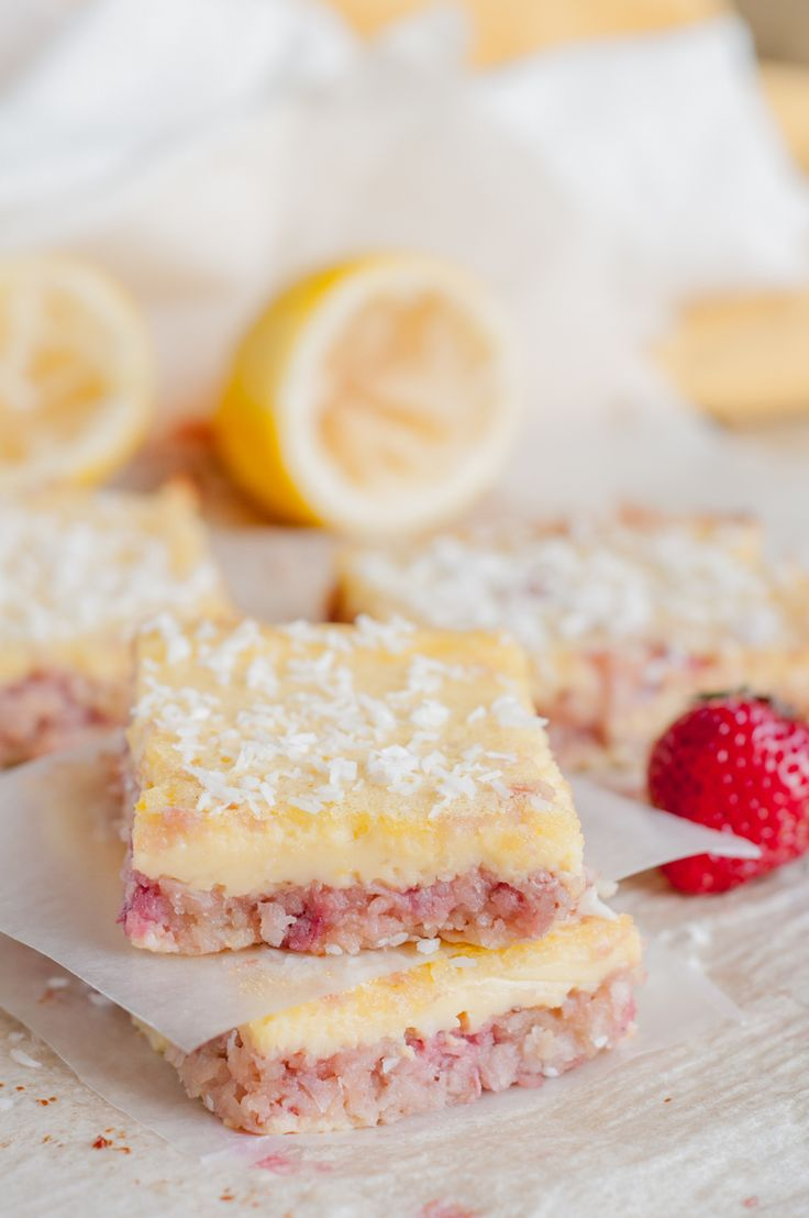 Coconut Strawberry and Lemon Bars - sub xylitol for the honey, and these make a summery, sweet post-FMD treat! 1 bar=1 healthy fat serving.