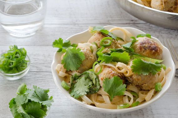 Thai Chicken Meatballs with Red Coconut Curry, Bok Choy & Rice Noodles 1
