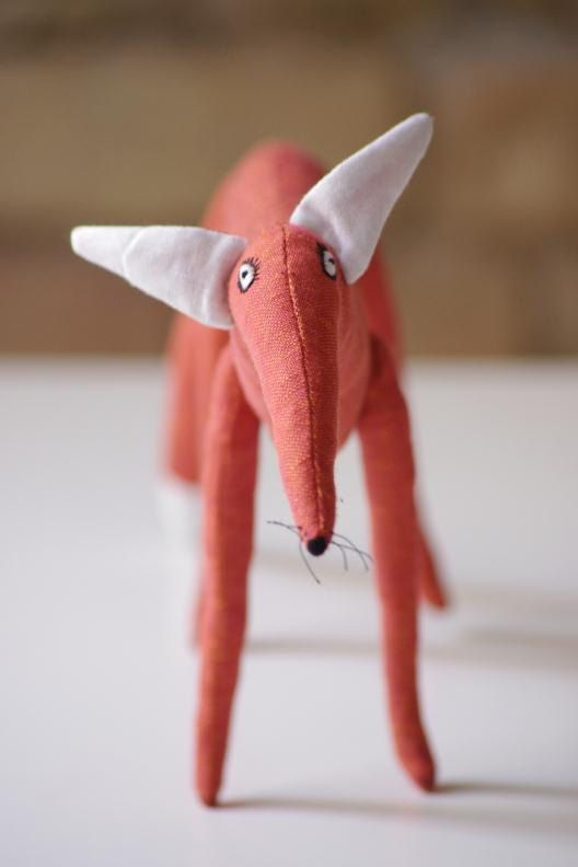 Fox made from 100% linen. Inside - polyester stuffing.  * Hand embroidered body.  Fox (all) body - ~ 50 x 19cm/19,6 x 7,4 inch The legs of the fox move