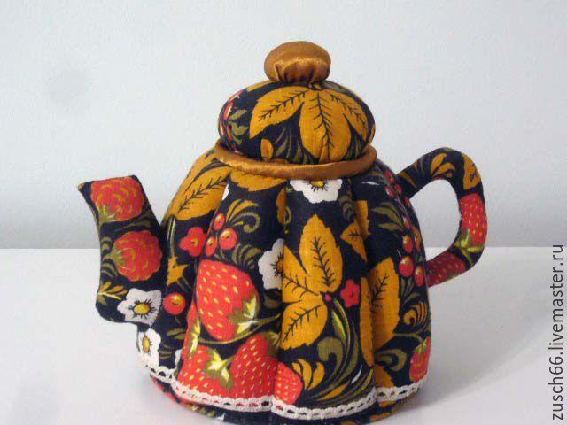 Купить Хохлома - хохлома, чайный домик, чайник ручной работы, чайник из ткани, текстильный чайник