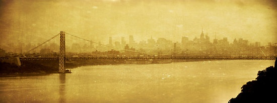 A vintage toned shot of the George Washington Bridge from the Palisades