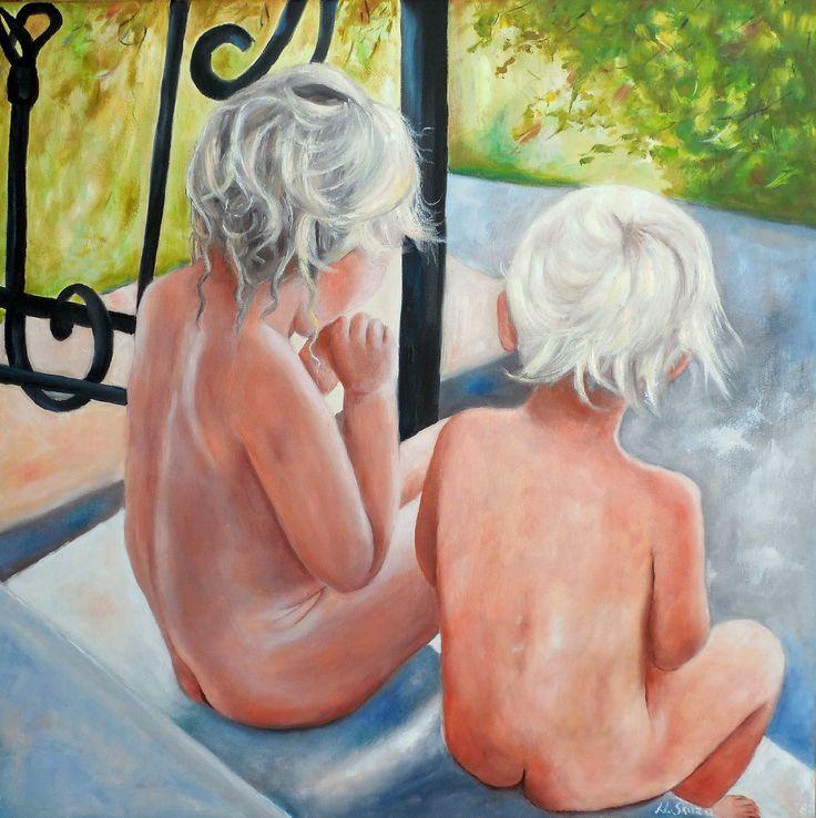 obraz olejny, malarstwo olejne, golasy, dzieci, portret