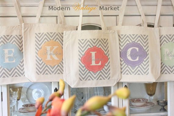 5 LAUREN CHEVRON Tote Bags,Gift bags,Monogrammed tote bags, Chevron bags,Bridesmaid bags,in 60 colors to chose from by Modern Vintage Market