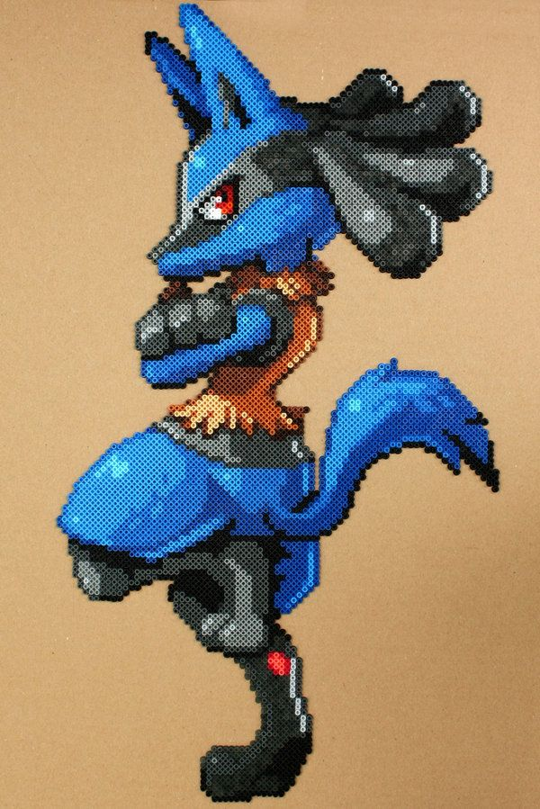 Pokemon - Lucario Perler Hama Bead Sprite by strepie93