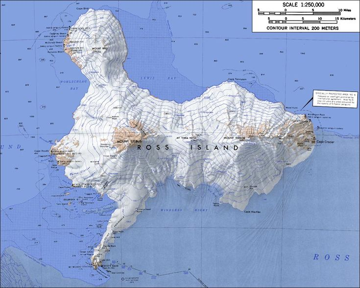Topographic Map Of Ross Island Antartica Ross Island Is Formed By Four Volcanoes Including Mont Erebus The Southernmost Active Volcano On Earth