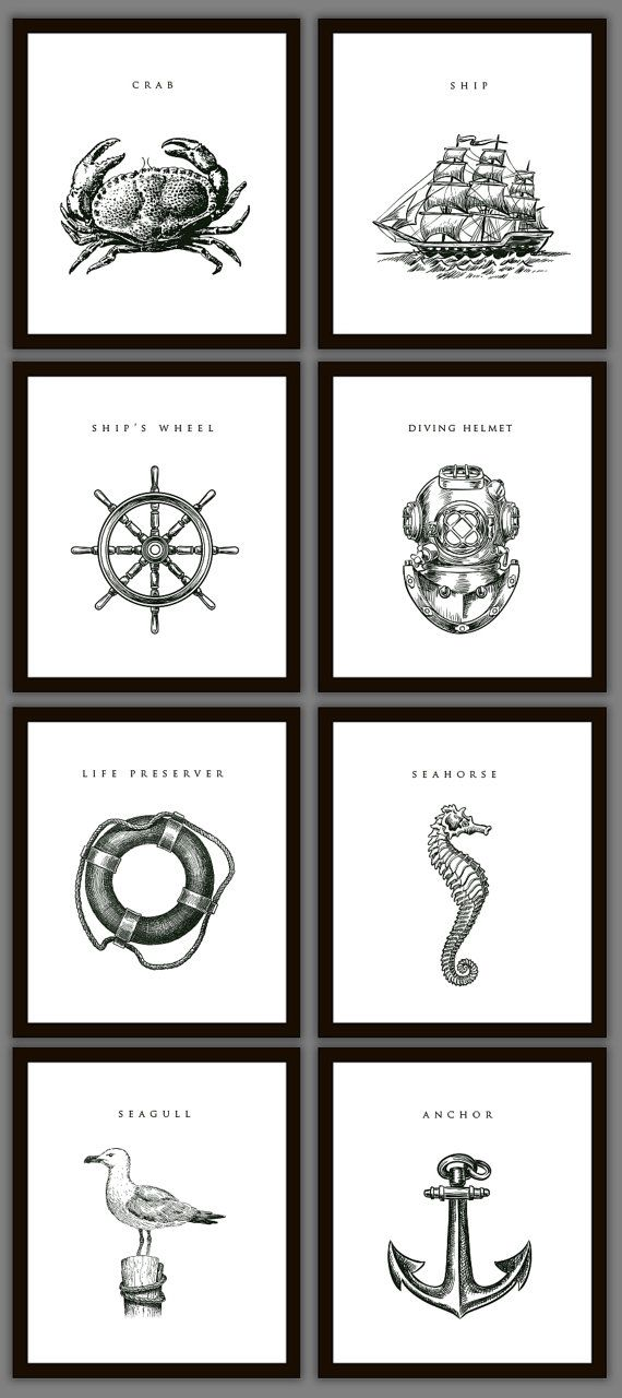 8 Nautical Home Decoration Art Prints by PrintsofBeauty on Etsy, $28.00 - I could stamp something like this!
