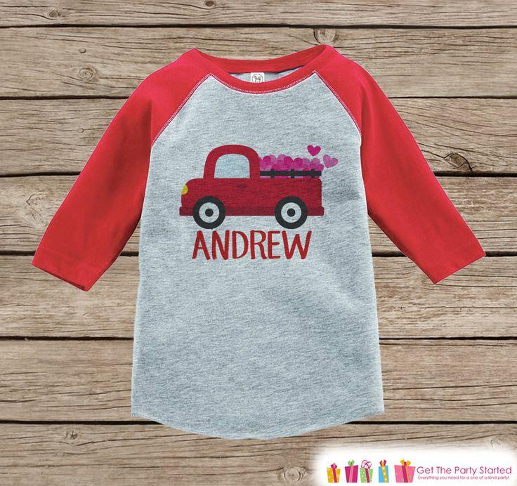 Boy's Valentines Day Outfit - Red Raglan Shirt - Red Truck Valentine Onepiece Top - Valentine Shirt for Baby Boys - Valentines Raglan Tee