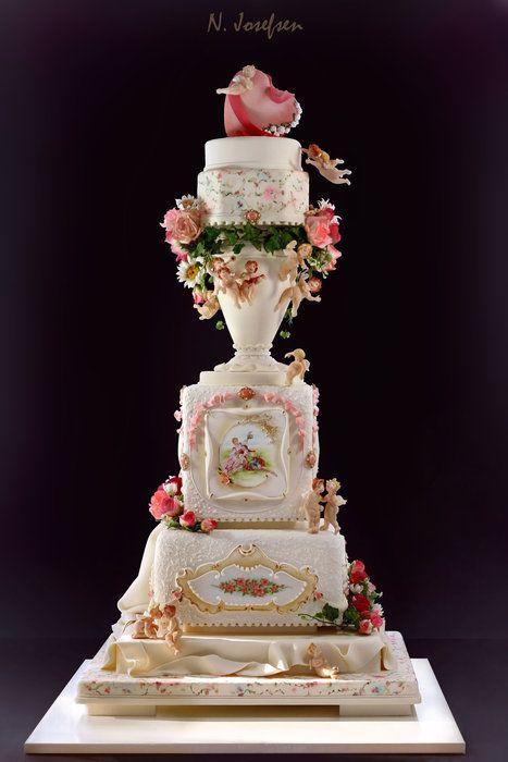 Romantic wedding cake, Norwegian Cakeshow by neli (3/14/2013) View details here: http://cakesdecor.com/cakes/53007