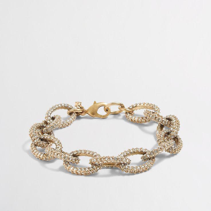 Factory gold and crystal link bracelet : Bracelets | J.Crew Factory