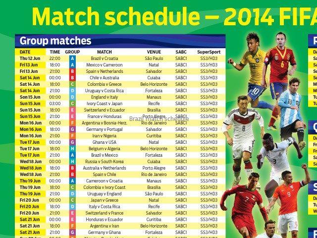 Brazil match schedule