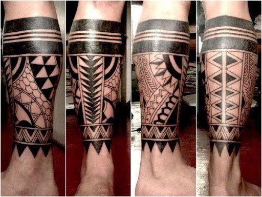 Cor escura tatuagens tribais para os homens na perna