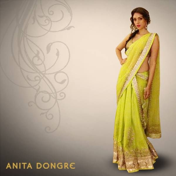 Vivacious and vibrant!  Aditi Rao Hydari looks simply stunning in this lime green lehenga at a recent event. #AnitaDongre