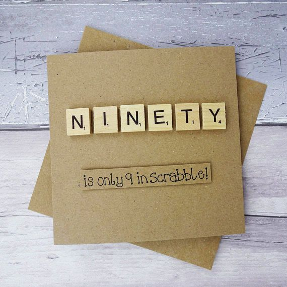 90th birthday card Ninetieth Scrabble card Funny birthday